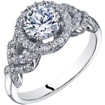 14k White Gold Peora Simulated Diamond Engagement Ring 1.00 Carat Center Halo Style Sizes 4-10