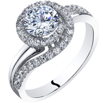 14k White Gold Peora Simulated Diamond Engagement Ring 1.00 Carat Center Bypass Style Sizes 4-10