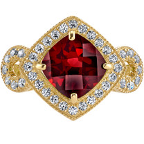 14K Yellow Gold Garnet Ring Cushion Cut 2.50 Carats Sizes 5-9