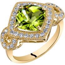 14K Yellow Gold Peridot Ring Cushion Cut 2.50 Carats Sizes 5-9