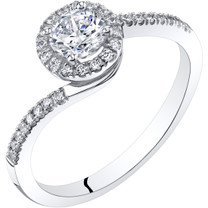 14K White Gold Bypass Style Engagement Ring Sizes 4-10