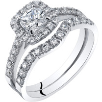 14K White Gold Cushion Cut Engagement Ring and Wedding Band Bridal Set Sizes 4-10