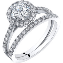 14K White Gold Halo Engagement Ring and Wedding Band Bridal Set Sizes 4-10