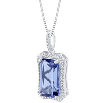 Simulated Tanzanite Sterling Silver Celestial Pendant Necklace