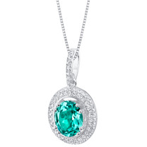 Simulated Paraiba Tourmaline Sterling Silver Harmony Pendant Necklace