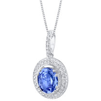 Simulated Tanzanite Sterling Silver Harmony Pendant Necklace