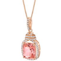 Simulated Morganite Rose-Tone Sterling Silver Glitz Pendant Necklace