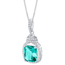 Simulated Paraiba Tourmaline Sterling Silver Glitz Pendant Necklace