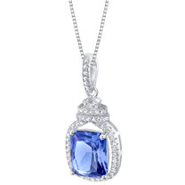 Simulated Tanzanite Sterling Silver Glitz Pendant Necklace