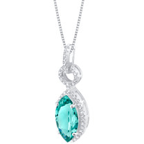 Simulated Paraiba Tourmaline Sterling Silver Royal Pendant Necklace
