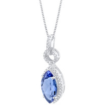 Simulated Tanzanite Sterling Silver Royal Pendant Necklace