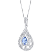 Simulated Tanzanite Sterling Silver Divine Pendant Necklace
