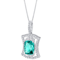 Simulated Paraiba Tourmaline Sterling Silver Art Deco Pendant Necklace