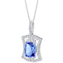 Simulated Tanzanite Sterling Silver Art Deco Pendant Necklace