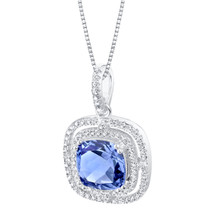 Simulated Tanzanite Sterling Silver Glisten Pendant Necklace