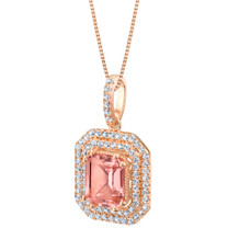 Simulated Morganite Rose-Tone Sterling Silver Octagon Pendant Necklace