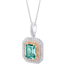 Simulated Paraiba Tourmaline Two-Tone Sterling Silver Octagon Pendant Necklace