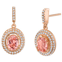 Simulated Morganite Halo Dangle Earrings Rose-Tone Sterling Silver