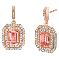 Simulated Morganite Rose-Tone Sterling Silver Octagon Poise Earrings