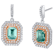 Simulated Tourmaline Two-Tone Sterling Silver Octagon Poise Earrings