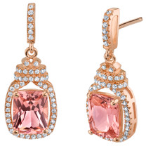 Simulated Morganite Rose-Tone Sterling Silver Cushion-Cut Glitz Earrings