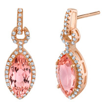 Simulated Morganite Rose-Tone Sterling Silver Marquise Royal Earrings