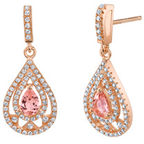 Simulated Morganite Rose-Tone Sterling Silver Chandelier Earrings