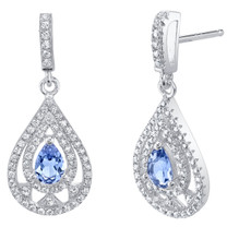 Simulated Tanzanite Sterling Silver Chandelier Earrings
