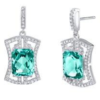 Simulated Paraiba Tourmaline Sterling Silver Art Deco Earrings