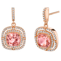 Simulated Morganite Rose-Tone Sterling Silver Cushion Swing Earrings