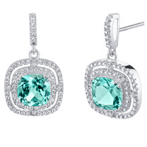 Simulated Paraiba Tourmaline Sterling Silver Cushion Swing Earrings