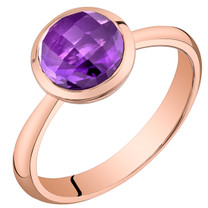 14k Rose Gold 1.50 carat Amethyst Solitaire Dome Ring