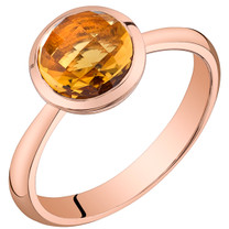 14k Rose Gold 2.50 carat Garnet Solitaire Dome Ring