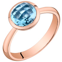 14k Rose Gold 2.00 carat Swiss Blue Topaz Solitaire Dome Ring