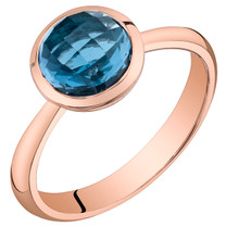 14k Rose Gold 2.00 carat London Blue Topaz Solitaire Dome Ring
