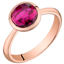 14k Rose Gold 2.50 carat Created Ruby Solitaire Dome Ring