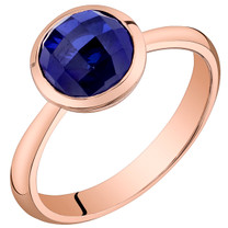 14k Rose Gold 2.25 carat Created Blue Sapphire Solitaire Dome Ring