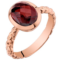 14k Rose Gold 3.00 carat Garnet Cupola Solitaire Dome Ring