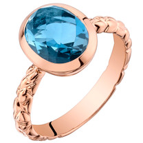 14k Rose Gold 2.50 carat London Blue Topaz Cupola Solitaire Dome Ring