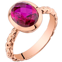 14k Rose Gold 3.00 carat Created Ruby Cupola Solitaire Dome Ring