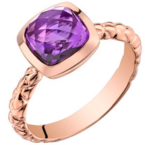 14k Rose Gold 2.00 carat Amethyst Cushion Cut Woven Solitaire Dome Ring