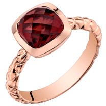 14k Rose Gold 2.50 carat Garnet Cushion Cut Woven Solitaire Dome Ring