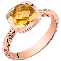 14k Rose Gold 2.00 carat Citrine Cushion Cut Woven Solitaire Dome Ring