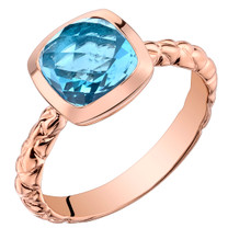 14k Rose Gold 2.50 carat Swiss Blue Topaz Cushion Cut Woven Solitaire Dome Ring