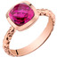 14k Rose Gold 2.50 carat Created Ruby Cushion Cut Woven Solitaire Dome Ring