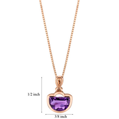 14k Rose Gold 2.75 carat Amethyst Half Moon Cut Pendant