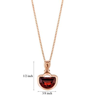 14k Rose Gold 4.50 carat Garnet Half Moon Cut Pendant