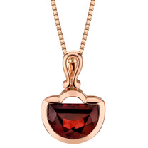 14k Rose Gold 4.50 carat Garnet Half Moon Cut Pendant