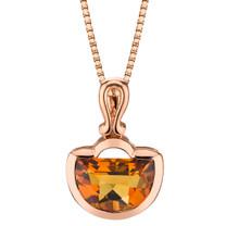 14k Rose Gold 3.00 carat Citrine Half Moon Cut Pendant