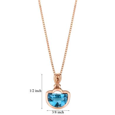 14k Rose Gold 4.00 carat Swiss Blue Topaz Half Moon Cut Pendant